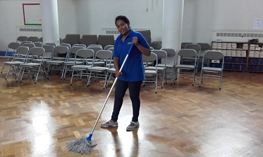 Cleaning a hall in Leeds