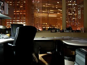 Picture of an office at night